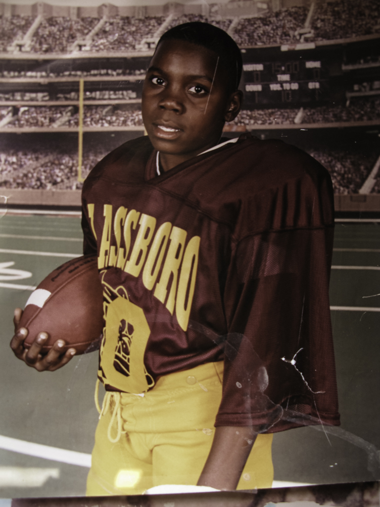 A football team portrait of Lil' A.O. Annie says he loved sports and was a good athlete.